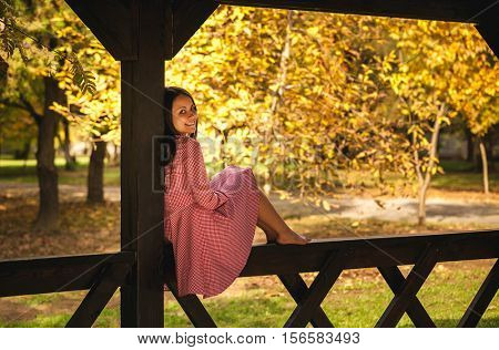 Portrait of rural girls in the autumn park