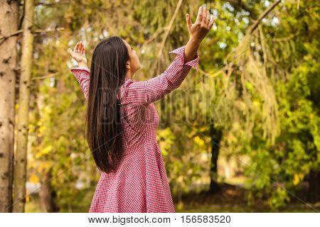 happy rural girl in park