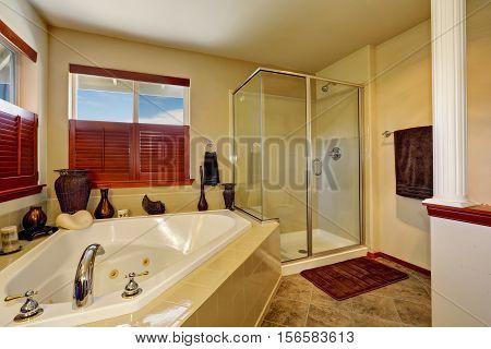 Luxury Bathroom With Corner Bath Tub And Glass Shower.