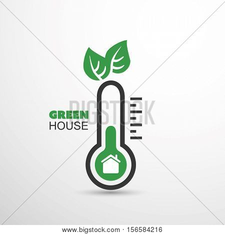 Green House - Global Warming, Ecological Problems And Solutions - Thermometer Icon Design