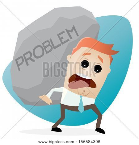 clipart of businessman carrying a big problem rock