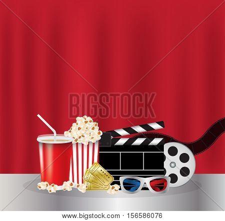 Popcorn, drink, Movie Film, 3d Glasses and movie ticket