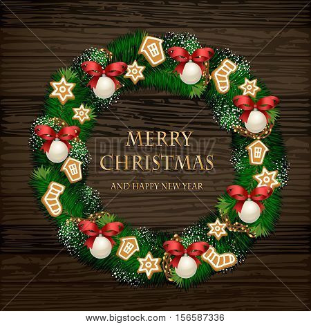 Evergreen wreath on door. Christmas wreath of Xmas tree branches with garlands, orange and spices on wooden planks vector. Merry Christmas and Happy New Year greetings. Winter holidays home decoration. Christmas graphic. Merry Christmas design. Christmas.