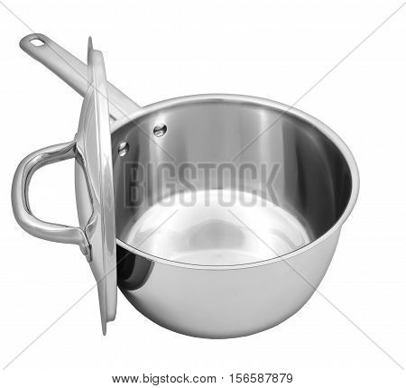 Steel  Saucepan With Top And Handle On White Background