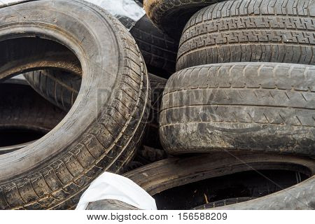 Mound Of Used Car Tires In A Junkyard