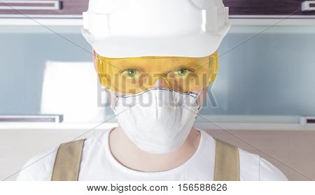 Worker Wearing Safety Glasses Respirator Helmet