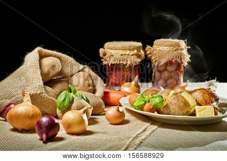 Jacket Potatoes And Roasted Meal As Rural Meal Concept
