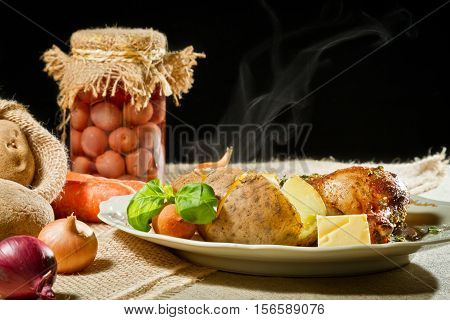 Jacket Potatoes And Roast Chicken Serve With Vegetables