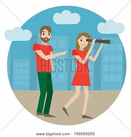 Guides in the city, tour guide. Girl looks into a telescope, man shows the way, landmarks, concept. Tourism icon. Guide service. Vector illustration