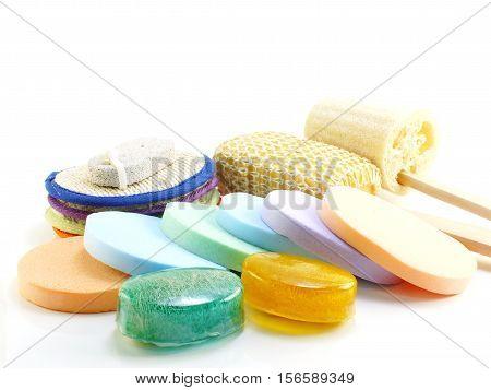 Natural soap bath puff and loofah spa kit