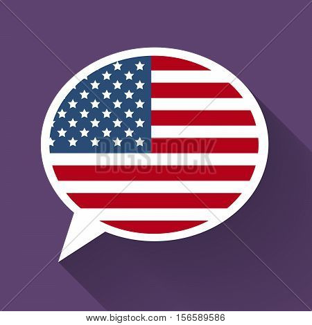 White speech bubble with American flag and long shadow on purple background. American english language conceptual illustration
