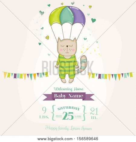 Baby Shower or Arrival Card - Baby Cat Flying with a Parachute - in vector