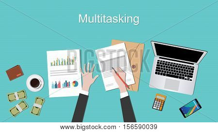 multi tasking concept illustration with businessman working on paperwork document with laptop and hand vector