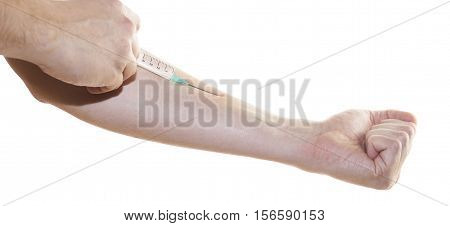 Patient Takes Insulin With Syringe Isolated On White