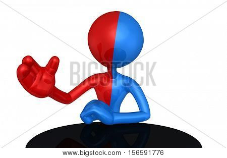 Split Red And Blue With The Original 3D Character Illustration