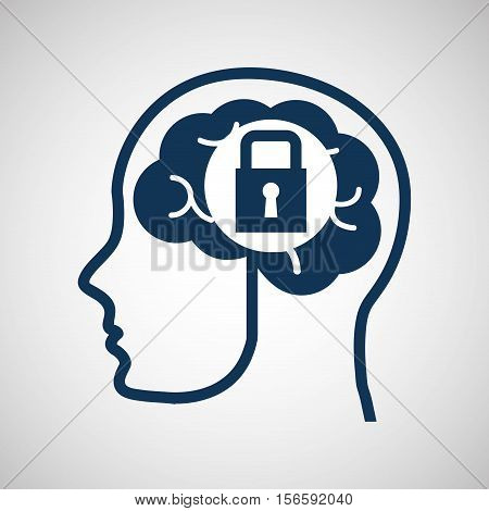 social media concept, head and brain media security vector illustration eps 10
