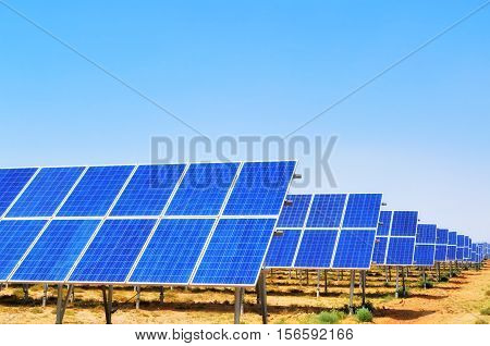 Solar panels with blue sky in China
