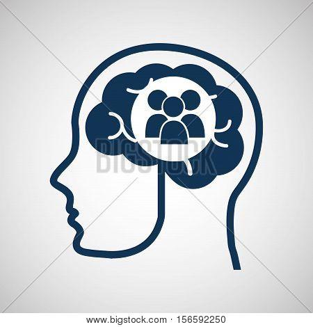 social media concept, head and brain media group vector illustration eps 10