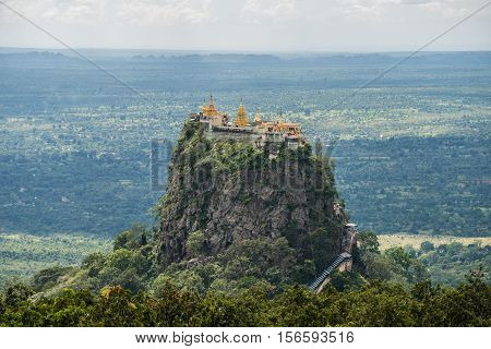 """Mt.Popa home of the """"nat"""", heavenly ghosts of the Burmese mythology."""