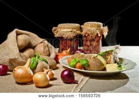 Roast Chicken Breast, Jacket Potatoes And Stewed Fruit As Rural Meal