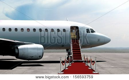 Airplane departure entrance with red carpet on bright day light