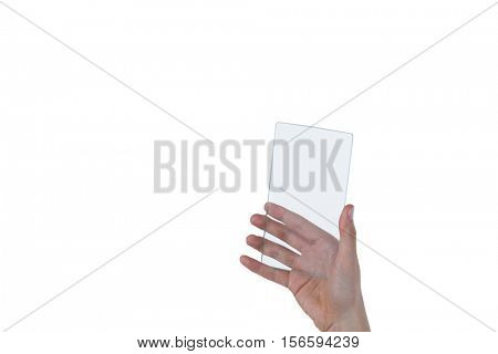 Hand of a female doctor holding mobile phone against white background