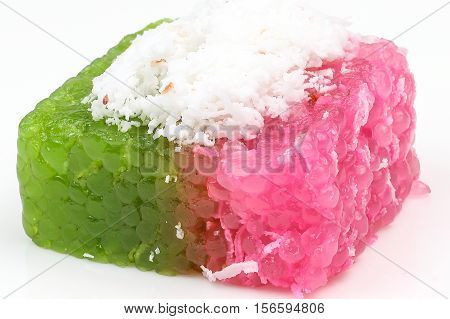 Kuih traditional Malay nyonya sweet desert on white background
