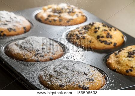 Muffin With Chocolate Chip And Caster Sugar