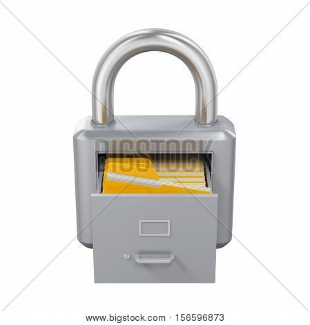 Archive Padlock isolated on white background. 3D render