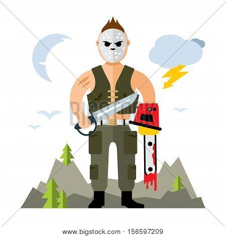 A man in a mask with holes holding a machete and a chainsaw. Isolated on a white background