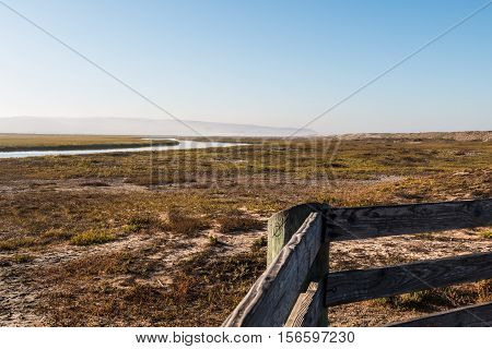 View from lookout point of the Tijuana River National Estuarine Research Reserve in San Diego, California.
