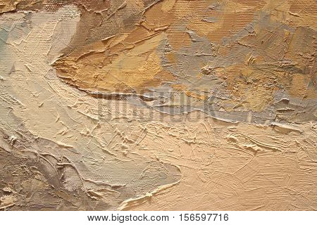 Oil Painting close up texture pallete knife storkes of brown yellow   color