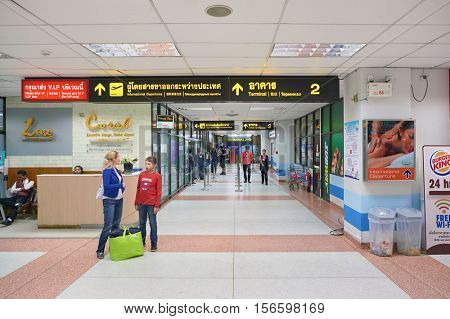PHUKET, THAILAND - 07 NOVEMBER, 2015: inside Phuket International Airport. Phuket International Airport is an international airport serving Phuket Province of Thailand.