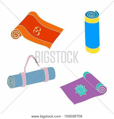 Cartoon yoga or fitness mats and sacks. Isolated set. Hand drawn vector EPS10 illustration.