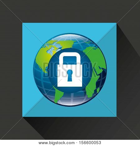 earth global padlock security data connected media vector illustration eps 10