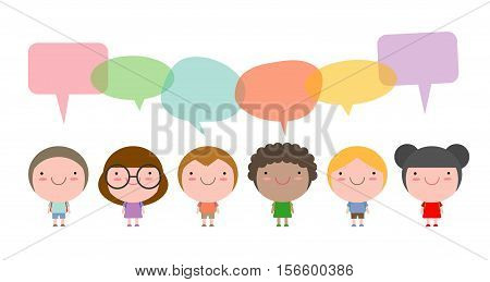 Cute kids with speech bubbles, Set of diverse children and Different nationalities with speech bubbles isolated on white background, Kids go to school with speech balloon, Vector Illustration