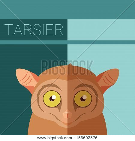 Vector image of the Tarsier flat postcard