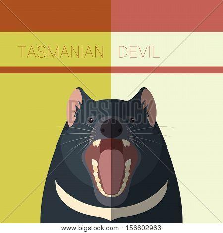 Vector image of the Tasmanian Devil flat postcard