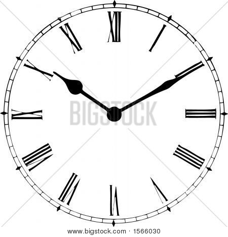 Clock Face, Close Up View, Illustration, Realistic, Grandfather Style