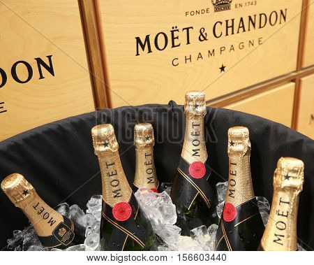 NEW YORK - SEPTEMBER 3, 2016: Moet and Chandon champagne presented at the National Tennis Center during US Open 2016 in New York. Moet and Chandon is the official champagne of the US Open