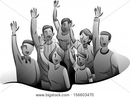 Black and White Illustration of Enthusiastic Volunteers Raising Their Hands