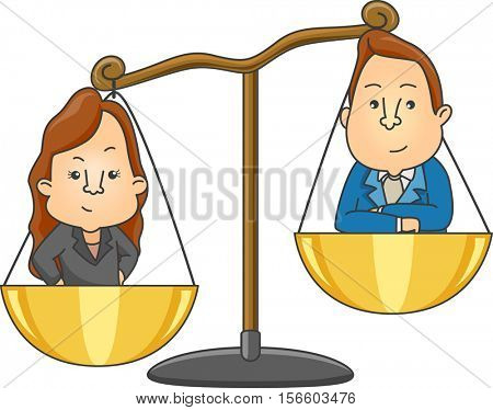 Conceptual Illustration of Gender Conflict in the Workplace Featuring a Woman and a Man Standing on an Weighing Scale