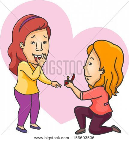 Romantic Illustration of a Woman Offering an Engagement Ring to Her Girlfriend