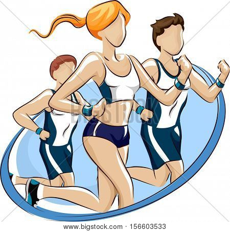 Logo Illustration Featuring Male and Female Runners Participating in a Fun Run