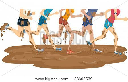 Illustration of a Group of Marathon Runners Running Through a Puddle of Mud