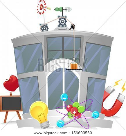 Illustration of a Physics Research Center with Physics Related Elements Scattered Around