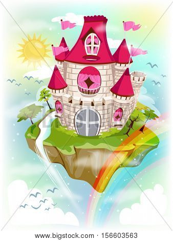 Colorful and Fancy Illustration of a Grand Castle Standing on a Floating Island - eps10