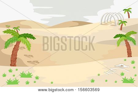 Illustration of a Prehistoric Landscape Featuring a Sandy Area Littered with Dinosaur Bones