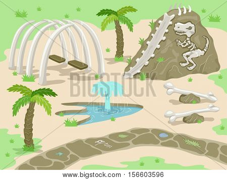 Illustration of a Fantasy Prehistoric Theme Park with Attractions Built with Dinosaur Bones