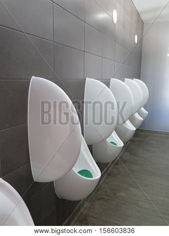 Row of Urinals in a Mens Pubic Restroom